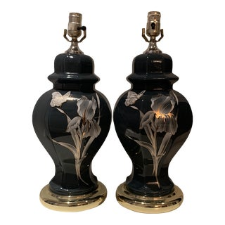 1970s Glass Dark Green Ginger Jar Shape Lamps - a Pair For Sale