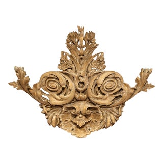 18th Century French Carved Oak Painted and Gilt Wall Sculpture With Shell Motif For Sale