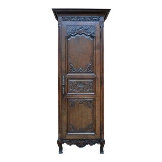 Antique French Country Oak 19th Century Liergues Bonnetiere Cabinet Armoire Wardrobe Bookcase For Sale