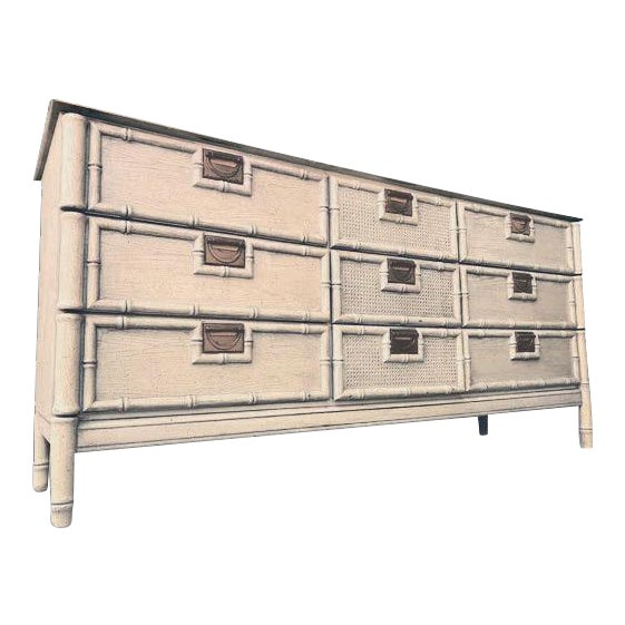 """1970s Stanley Furniture """"Bali Hai"""" Campaign Faux Bamboo 9 Drawer Dresser For Sale"""