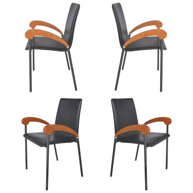 Xo Design Metal and Wood Armchairs With Full Grain Leather Seats For Sale
