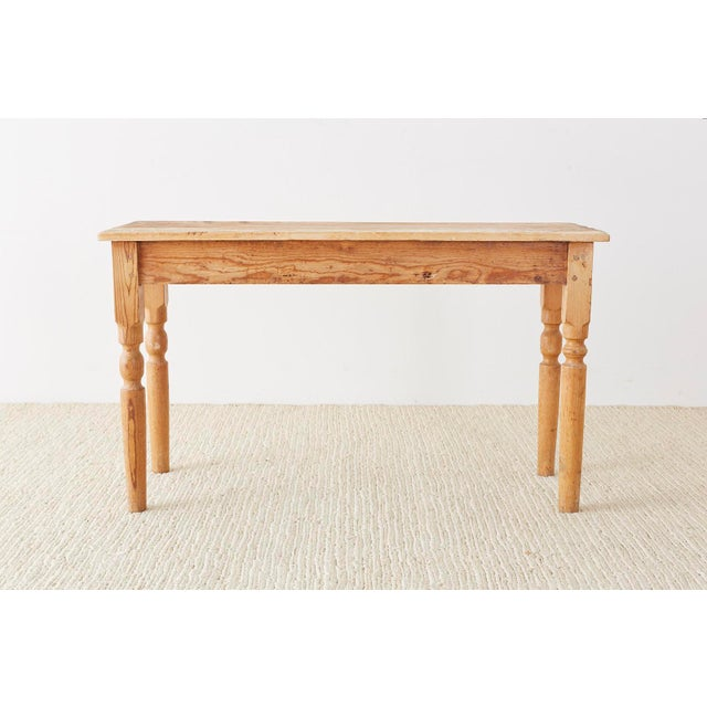Rustic American Pine Farmhouse Console Table