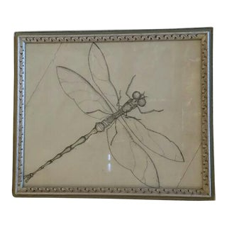 Framed Drawing of Dragonfly For Sale