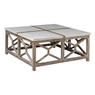 Large Limestone Top Cocktail Table For Sale