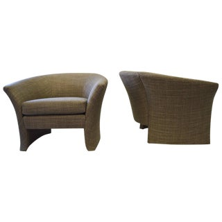 Architectural Shape Lounge Chairs - A Pair For Sale