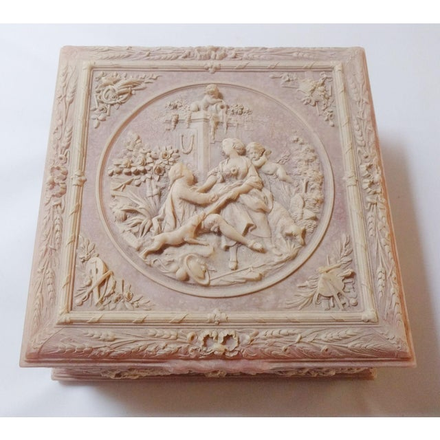 "Vintage Pink Incolay ""Marie Antoinette"" Stone Composite Jewelry Box With Tray For Sale In San Francisco - Image 6 of 7"