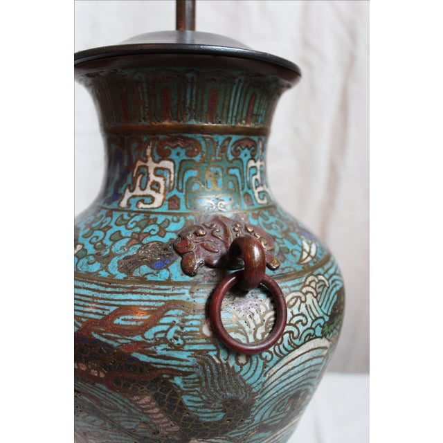 Vintage Japanese Champleve Urn Lamp For Sale - Image 4 of 5