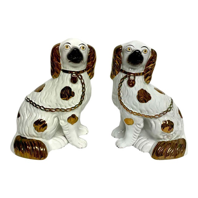 Tall Staffordshire Copper Luster Dogs With Separated Legs - a Pair For Sale