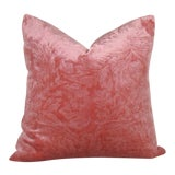 Image of Coral Cut Velvet Pillow Cover For Sale