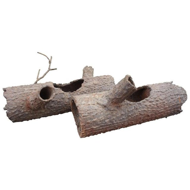 Iron Faux Bois Log Sculptures-A Pair For Sale - Image 12 of 12