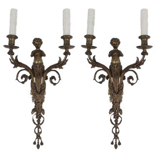 Pair 19th C. French Bronze Two-Arm Putti Sconces For Sale