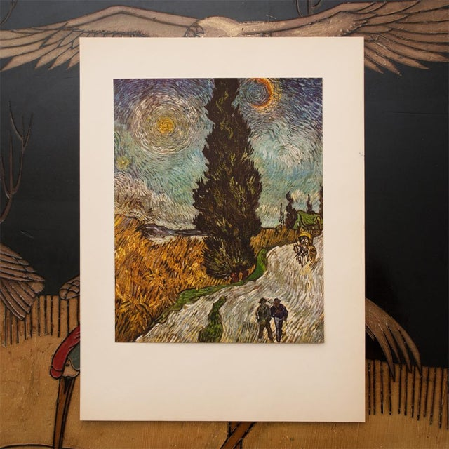 """Modern 1950s Van Gogh, First Edition Vintage Lithograph """"Road With Cypresses"""" For Sale - Image 3 of 8"""