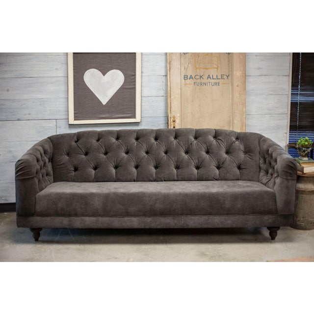 Charcoal Tufted Vintage Sofa - Image 2 of 10