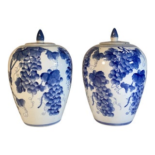 Vintage Chinese Ginger Jars With Grapes Motif - a Pair