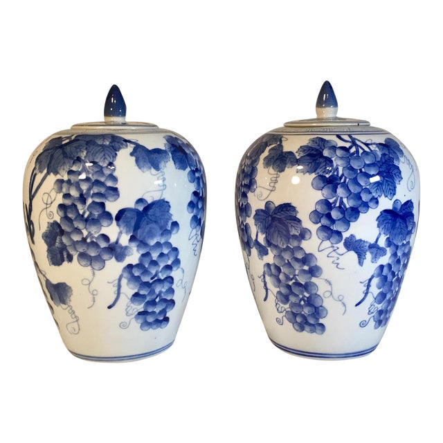 Vintage Chinese Ginger Jars With Grapes Motif - a Pair For Sale