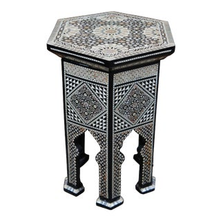 20th Century Moroccan Inlaid Mother of Pearl End Table For Sale