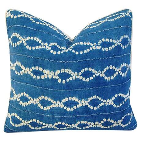 Custom Blue & White Batik Cotton/Linen Pillow - Image 1 of 4