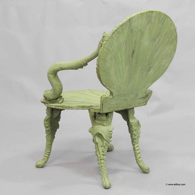 Antique Wooden Carved Grotto Armchair Ca. 1880 For Sale - Image 4 of 11