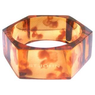 St John Amber Lucite Tortoise Shell Hexagon Cuff Bracelet in Box For Sale