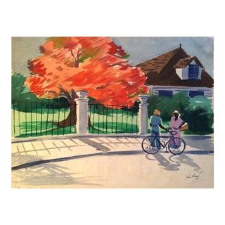 "John Ward (20th Century) American Artist ""Royal Poinciana, Florida"" Painting Circa 1950 For Sale"