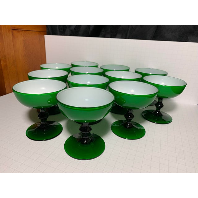 Green 1960s Carlo Moretti Emerald Green and White Cased Glass Champagne Goblets - Set of 12 For Sale - Image 8 of 13