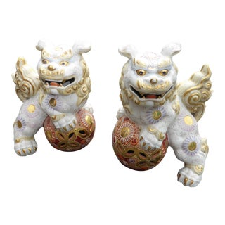 Vintage Japanese Satsuma Ornate White & Gold Porcelain Foo Dogs - a Pair For Sale