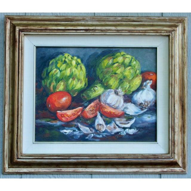 Artichoke Vegetable Still Life Original Oil Painting For Sale - Image 11 of 11