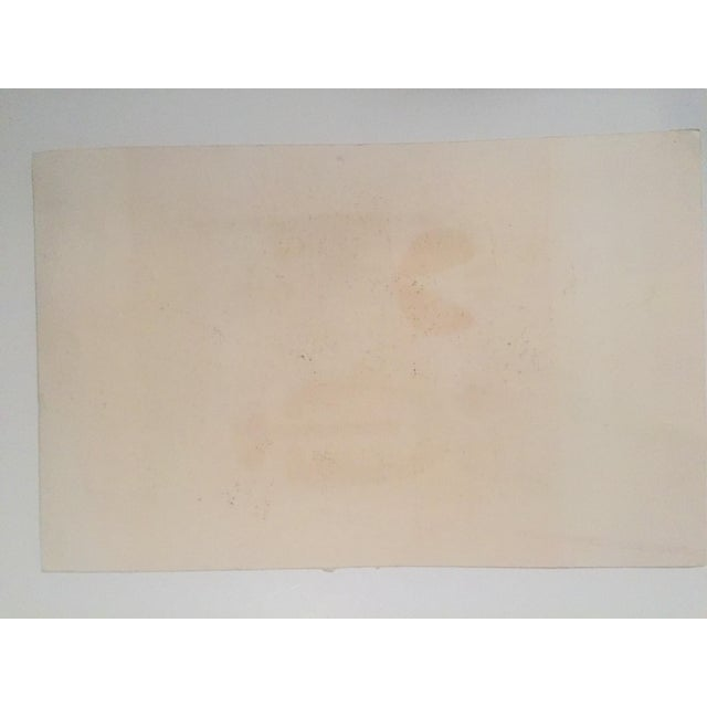 Original Vintage Mid-Century Wood Block Abstract Print - Image 4 of 5
