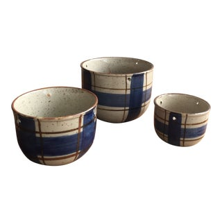 1960s Blue Gray Plaid Planters - Set of 3 For Sale