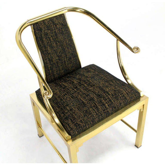 Mid-Century Modern Pair of Brass Barrel Back Chairs by Mastercraft For Sale In New York - Image 6 of 10