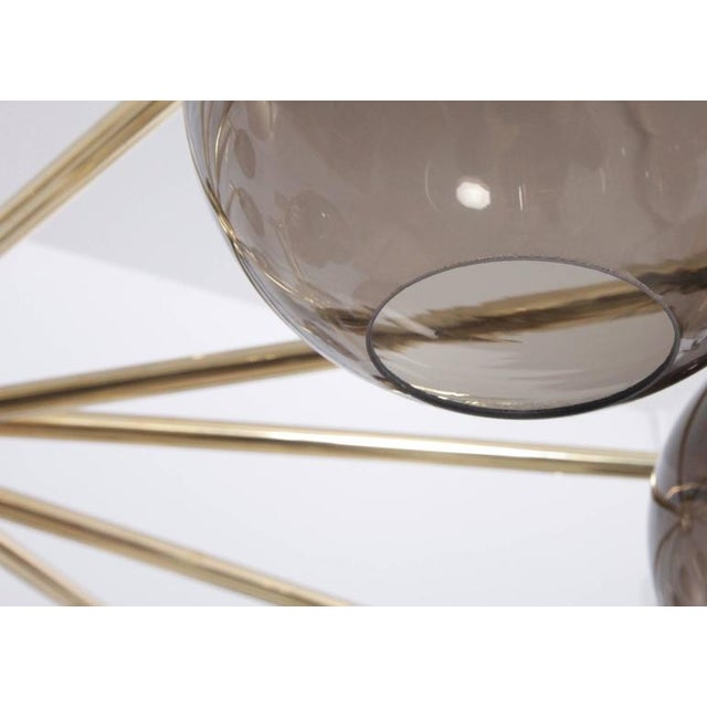 1970s 1 of 2 Huge Tinted Glass and Brass Chandelier Attributed to Hans-Agne Jakobsson For Sale - Image 5 of 8