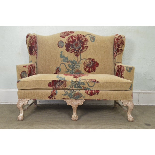 1990s Drexel Heritage Gentlemans Home Floral Upholstered Chippendale Settee Loveseat For Sale - Image 5 of 13