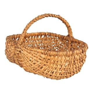 French Auvergne Region Wicker Basket For Sale