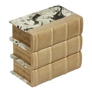 Sarreid Ltd. Antique Gold/Charcoal Leather Books - Set of 3 For Sale