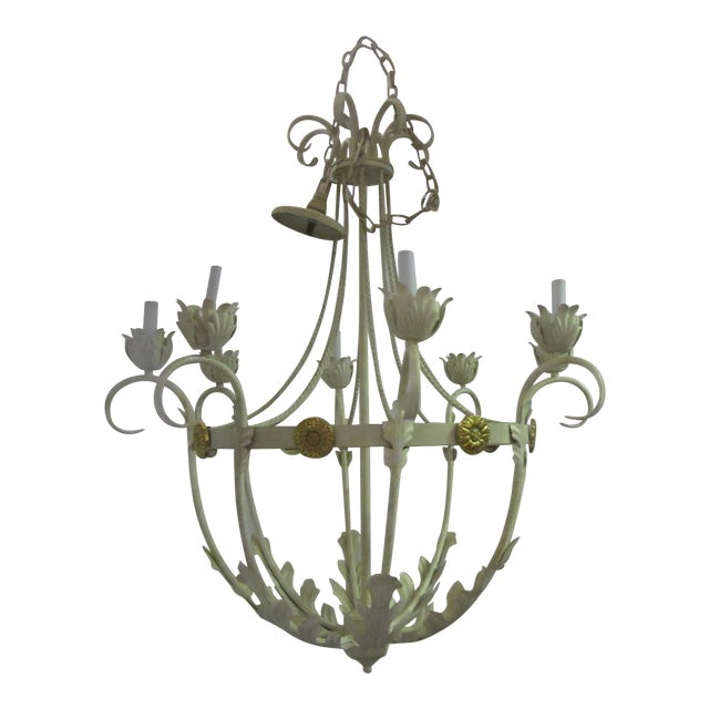1950s White Bird Cage Shaped 8 Light Chandelier With Brass Accents For Sale