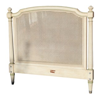 Kindel Attributed Vintage French Provincial Twin Sized Cream Painted Cane Headboard For Sale