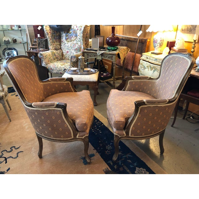 Early 20th Century Vintage Louis XV Style Walnut Bergere Chairs - A Pair For Sale - Image 4 of 10