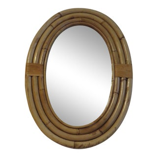Oval Bamboo Rattan Wall Mirror For Sale