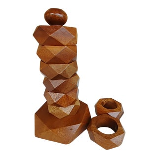 Mid-Century Modern Faceted Wooden Napkin Ring Set on Dowel - Set of 9 For Sale