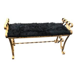 Hollywood Regency Gold Metal Black Paint Splatter Bench With Faux Fur Seat For Sale