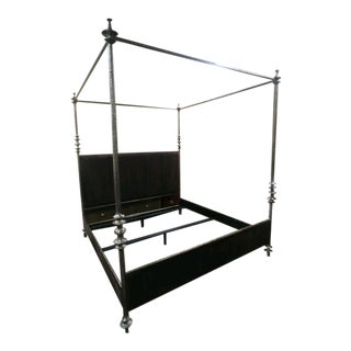 Mid-Century Modern Henredon Furniture 1945 Collection Lafayette Queen Metal Canopy Bedframe For Sale
