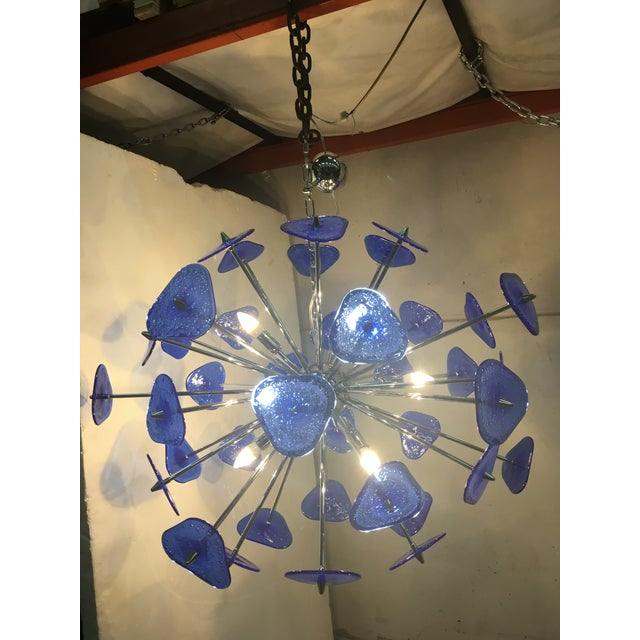 Blue Contemporary Blue Murano Glass Sputnik Chandelier For Sale - Image 8 of 12