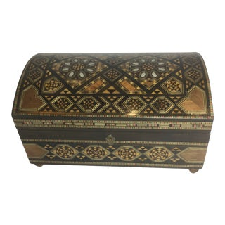 Handcrafted Inlaid Wood Moorish Jewelry Box For Sale