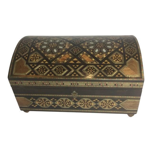 Handcrafted Inlaid Wood Moorish Jewelry Box For Sale