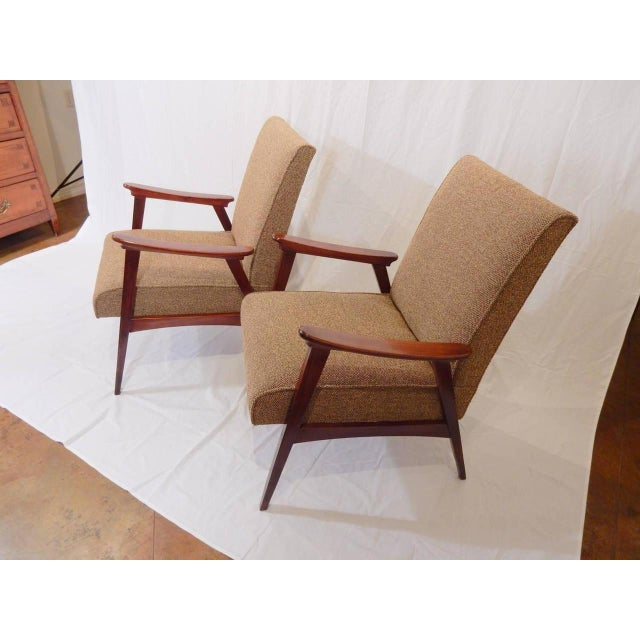 Pair of vintage armchairs, French, 1950s. New fabric, webbing and foam. Carefully restored. Circa 1955.