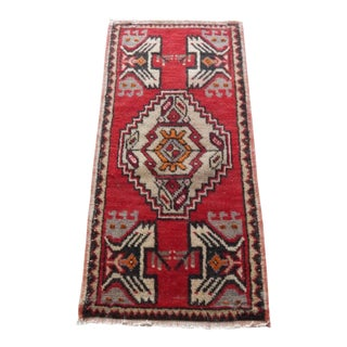Hand Made Oushak Rug Mat Distressed Small Rug Kitchen Mat 1′7″ × 3′2″ For Sale