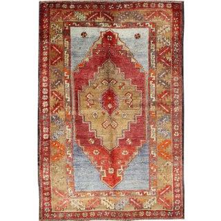 Vintage Mid-Century Turkish Oushak Rug - 3′9″ × 5′10″ For Sale