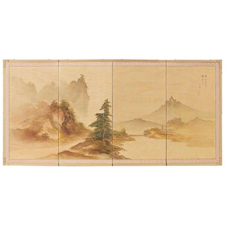 Japanese Four-Panel Screen Mountain Landscape on Silk For Sale