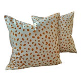"""Image of boho Chic Thibaut """"Tanzania"""" Orange and White Animal Spot Down Filled Pillows - a Pair, 22"""" For Sale"""
