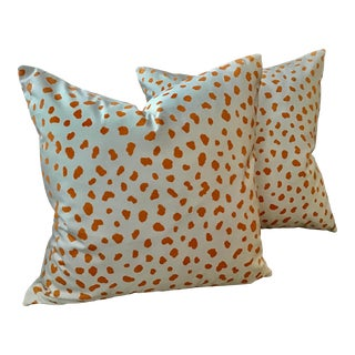 "boho Chic Thibaut ""Tanzania"" Orange and White Animal Spot Down Filled Pillows - a Pair, 22"" For Sale"